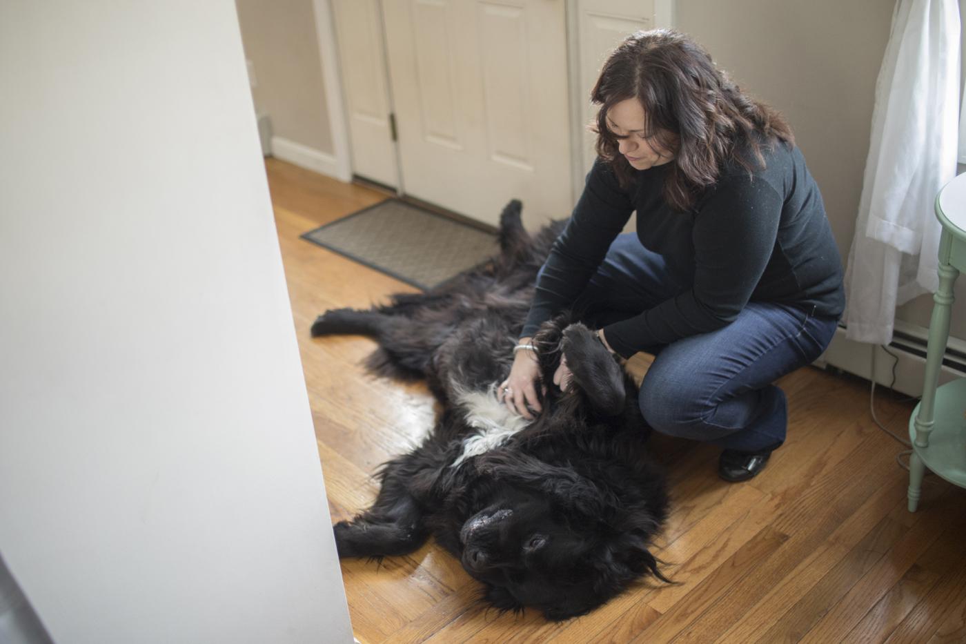 Violet's mom pets their dog
