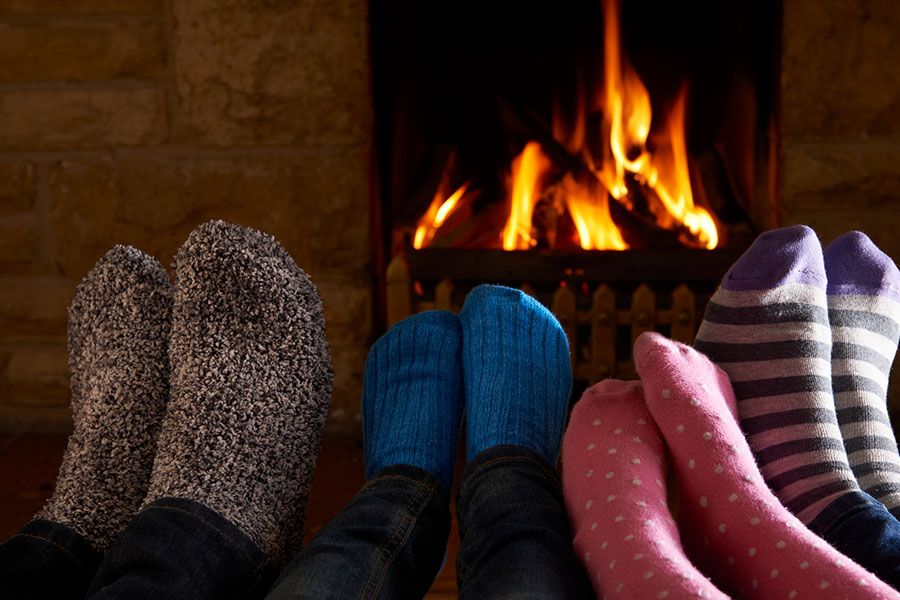 family by the fire