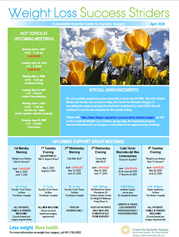 center for bariatric surgery newsletter cover