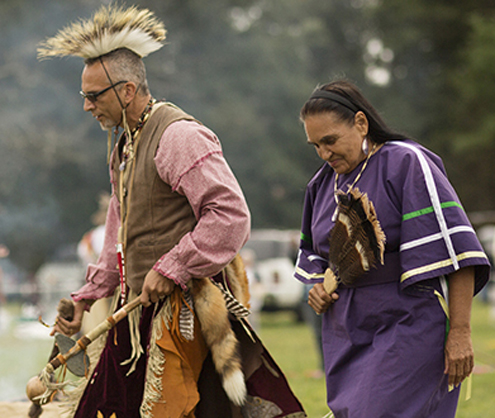 Carole Brown takes part in a Native American dance in Rhode Island.
