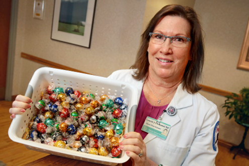 Nurse Laurie DeRuosi, NP, with candy